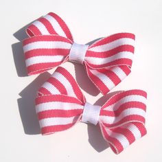 Large Watermelon Pink Striped Bows Hair Clips Set