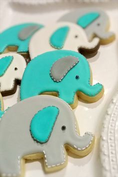Image result for yellow gray turquoise elephant cookies