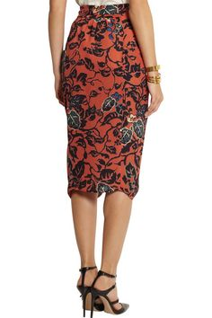 Burnt-orange silk Multicolored print, draped front Concealed hook and zip fastening at back silk Dry clean Draped Skirt, Silk Skirt, Rossi Shoes, Jennifer Fisher, Burnt Orange, Zip, Skirts, How To Wear, Fashion