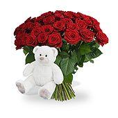 Valentijn Witte knuffel 45 cm! Met 40 LANGE rode rozen bestellen bij Boeketten.nl