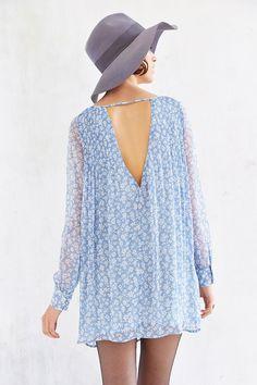 Kimchi Blue Pintuck Long-sleeve Chiffon Swing Dress