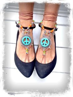 Turquoise PEACE sign BAREFOOT sandals Star charms by GPyoga, $89.00