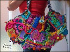 "Sac crochet tricot freeform ""Tricote-moi la Lune"""