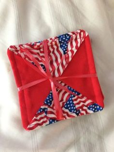 Set Of 4 American Flag Patriotic Hand-made Fabric Coasters Never Used July 4th - http://home-garden.goshoppins.com/holiday-seasonal-decor/set-of-4-american-flag-patriotic-hand-made-fabric-coasters-never-used-july-4th/