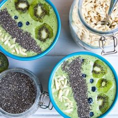 Kale, Spinach, Banana, Strawberry, Pineapple & Mango! Topped with Almonds, Chia Seeds, Blueberries & Kiwi
