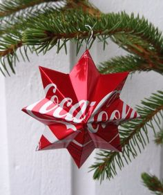 A soda can and a wire are all you need to make this beautiful upcycled Christmas ornament.