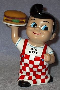 Adopt from Fathertime: Hard Plastic Big Boy Restaurant Coin Bank, 8 inch with stopper plug, Ca. 2001 Condition: Vintage Used, Clean Defects: Small paint chip back of head Comment: A culture classic Control: 7582 Satisfaction: As with all V. Childhood Friends, Childhood Memories, Big Boy Restaurants, Old Signs, Vintage Love, Vintage Style, Great Memories, Retro Art, Big Boys