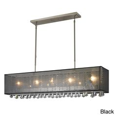 This five-light billiards light has a brushed nickel finish that can be complemented well by either a white or black shade. With hanging multi-faceted crystals, this chandelier could bring a spark of luxury to any room.