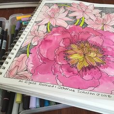 Good morning and happy Saturday! I used 4 markers to color this page -- maroon dusty pink grey and chartreuse (Tombow N79 772 757 and 133) . I think it needs more work with colored pencil the center of the large flower looks a little wonky to me! Have a great day hope it's sunny where you are! #catherinescanlon #catherinescanlondesigns #illustration #crosshatch #flower #flowerillustration #positivity #tombow #tombowdualbrushpens @tombowusa