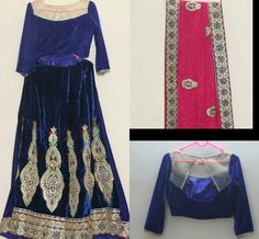 Embroidered with gota patti, resham, sequins and stone work on Paisley and Floral motif on navy blue Velvet lehenga with crop top style  Choli and  pink embroidered dupatta. Pls watsapp 8939247303 for order.