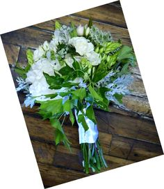 For the Bride  Peonies, Spray Roses, Dumbium, Queen Ann's Lace, Nandina, Mimosa, Dusty Miller, and Ivy — at Briarwood Florist.