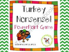 Turkey Nonsense! CVC PowerPoint Game from The T.L.C. Shop on TeachersNotebook.com (45 pages)