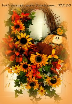 Large Fall WreathGorgeous Colors with by PrimitiveHomeDecor1, $32.00