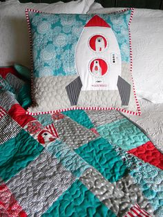 Unbelievably adorable rocketship pillow and quilt by Teaginny using my Brrr! Sewing Crafts, Sewing Projects, Sewing Ideas, Big Pillows, Cushions, Boy Quilts, Textiles, Yarn Thread, Baby Decor