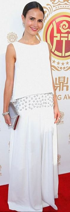 Who made Jordana Brewster's white gown? Dress – Philosophy by Natalie Ratabesi