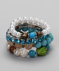 Blue & Pearl Bracelet Set Colors. Copper and teal.
