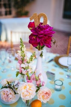 Incroporating Sparkle into your Wedding Day | Sparkle Table Numbers Stuck into Centerpieces | Sweet Pea Photography