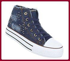 ae6130cf0f77 Damen Schuhe Freizeitschuhe High-top Sneaker Schnürer Dunkelblau 40 -  Sneakers für frauen (