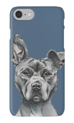 Stalky Pit Bull Dog Drawing by namibear. Phone Case. This is a portrait of a grey pit bull dog with white on his chest. It has one ear standing. He has a regal look on his face. He is on a bulky side and has a big and muscular face. It was sketched with pencil and then colored digitally with pastel.