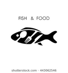 Fish,spoon,fork and knife icon.Fish & food logo design vector icon.Fish & food restaurant menu icon.Vector Illustration