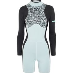 Adidas by Stella McCartney Swim printed neoprene wetsuit (810 BRL) ❤ liked on Polyvore featuring swimwear and light blue
