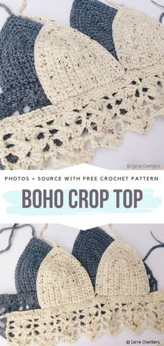 Boho Crop Tops Free Crochet Patterns - - It's time to start thinking about summer. Really, if you want to be prepared for hot season, you better start making yourself some cute crocheted items. Diy Crochet Crop Top, Crochet Diy, Crochet Halter Tops, Crochet Crafts, Crochet Projects, Crochet Skirts, Crochet Summer, Crochet Shorts Pattern, Crochet Patterns