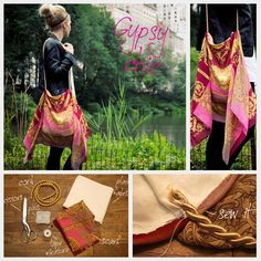 This purse would be so easy to make for anyone at even a beginner's sewing level. You can raid thrift stores and freeboxes for a scarf to upcycle, or use a dress with interesting fabric and cut it along the seams to use as fabric.