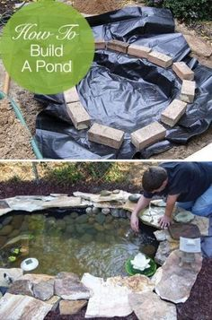 How to Build a Pond – Easily, Cheaply and Beautifully...I really want to do this out back!  Always have.  I'd need to dig it deep enough for fish to survive our very mild winters here in Houston so that the mosquitoes couldn't use it to multiple...cause they sure will here :(