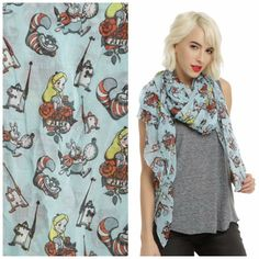 Alice in Wonderland oblong scarf from Hot Topic