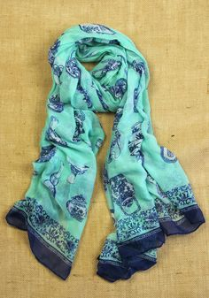Tea Set Scarf: Sea Foam Green [NS289] - $14.99 : Spotted Moth, Chic and sweet clothing and accessories for women