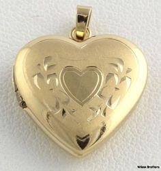 Heart Locket Charm Solid 14k Yellow Gold Engravable Estate Pendant Fashion   eBay