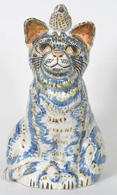 Cat Blue - Ceramic sculpture by Tracy Wright