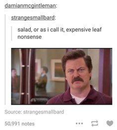"""How Well Do You Remember Ron Swanson's Funniest Lines From """"Parks And Rec""""? Parks And Rec Memes, Parks And Recs, Parks And Recreation, Funny Quotes, Funny Memes, Jokes, It's Funny, Stupid Memes, Funny Photos"""