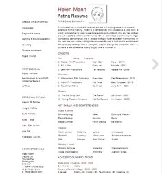 page acting resume template