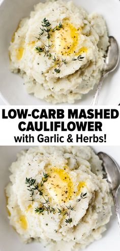 Mashed cauliflower (cauliflower mashed potatoes) are a healthy low-carb paleo keto and alternative to mashed potatoes. Theyre also a great way to sneak more veggies into your meal. Add fresh garlic and herbs for the best flavor! Califlower Mashed Potatoes, Cauliflower Mashed Potatoes Healthy, Easy Mashed Potatoes, Cauliflower Puree, Cauliflower Recipes, Cheesy Potatoes, Baked Potatoes, Are Potatoes Healthy, Roasted Cauliflower