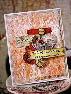 In this card Art Anthology Sorbet paint was were layered with Gesso for a shabby feel.