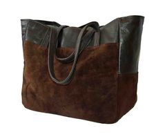 Image of Brown Suede and Leather Market Shopping Tote