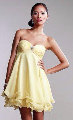 Yellow Prom Short Dresses