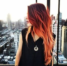 Brown and orange dyed hair!! Looks fiery!