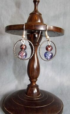 Beautiful Silver tone and Glass bead earrings.                                          (Approximately 2.6cm in length and 2cm wide)