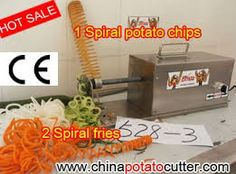 Spiral Potato Chips and spiral fries machine http://www.chinapotatocutter.com/  Spiral potato chips and spiral fries machine give you an easy way to make your own potato chips.