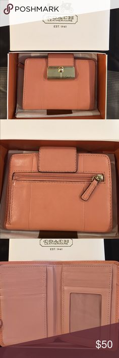 Coach peach leather wallet (pre-loved) Coach like-new peach with gold hardware wallet! Barely used. Lots of card slots and extremely clean! Perfect for a small bag where you don't want those long wallets. Fits smoothly in a small clutch. Gorgeous color for spring! 💛 EXTRA: comes with original packaging! Coach Bags Wallets