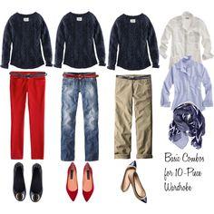 """10 - Piece Wardrobe - Blue Sweater"" by bluehydrangea on Polyvore"