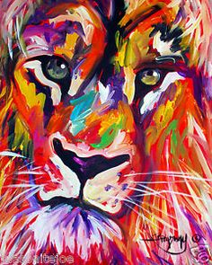 ABSTRACT ORIGINAL COLORFUL PAINTING 5X7 IN. LION FACE MARC ...