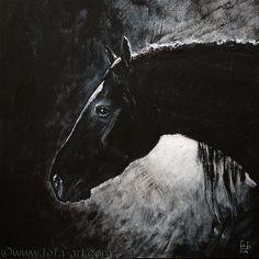 A portrait of mare Fiona  Materials: cardboard, acryl, ink Size 29x29cm  2014 Fefa Koroleva