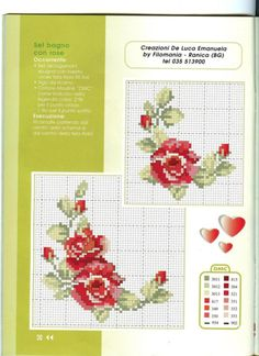 Gallery.ru / Фото #44 - 32 - ZinaidaR Cross Stitch Rose, Cross Stitch Flowers, Cross Stitch Charts, Cross Stitch Embroidery, Cross Stitch Patterns, Coming Up Roses, Mini Roses, Pin Cushions, Pattern Fashion