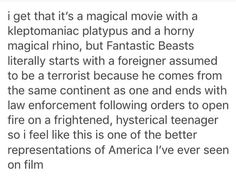 Fantastic Beasts and Where to Find Them, accurate representation of America. This is depressingly true.