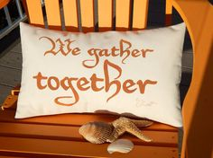 Outdoor pillow We Gather Together family reunion by crabbychris