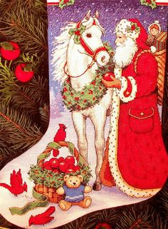 SANTA and HORSE Christmas Cross Stitch Stocking Kit Vintage
