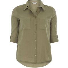 Dorothy Perkins Petite khaki safari shirt ($29) ❤ liked on Polyvore featuring tops, blouses, khaki safari shirt, dorothy perkins, cotton shirts, woven top and safari shirt